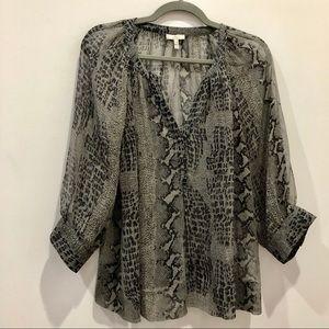 Joie silk blouse animal print grey and black Sz s